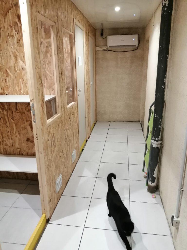 Couloir de l'extension 2019 et son bloc climatiseur réversible. Les travaux ne sont pas encore totalement terminés. Il reste des finitions à faire....